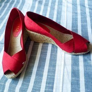 Ralph Lauren Cecilia Red Silk Espadrille Wedge